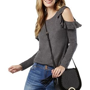 Cold Shoulder Jewel Neck Pullover Sweater Top Gray